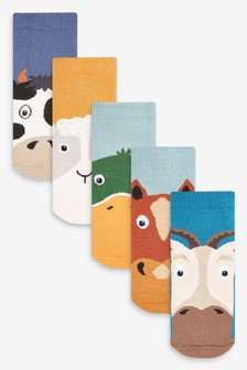 Muted 5 Pack Farm Animal Cotton Rich Cushioned Socks (Younger)