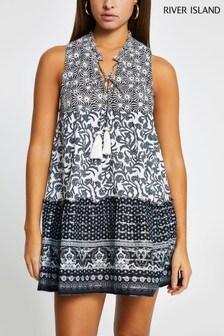 River Island Black Mixed Print Mini Beach Dress