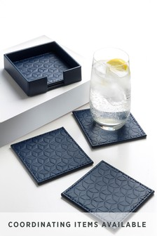 Set of 4 Reversible Faux Leather Coasters In a Holder