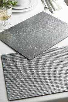 Set of 4 Silver Glitter Placemats