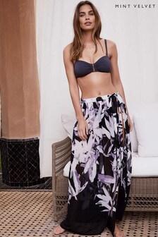 Mint Velvet Natural Marcy Print Maxi Skirt
