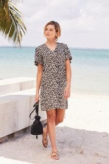 Animal Linen Mix Mini Kaftan Dress