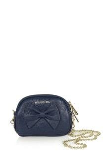 Girls Navy Leather Shoulder Bag