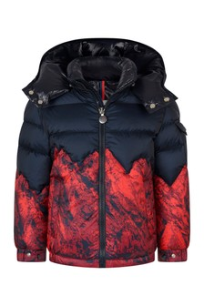 Boys Red/Blue Down Padded Vent Jacket