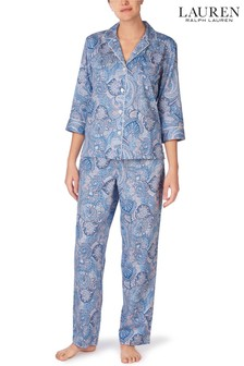 Lauren Ralph Lauren® Blue Classic Woven 3/4 Sleeve Notch Collar Pyjama Set