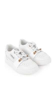 Girls White/Gold Leather Trainers
