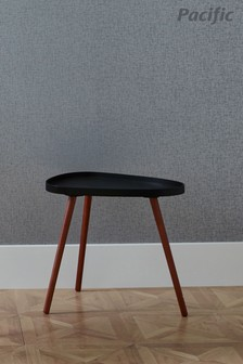 Pacific Black MDF And Brown Pine Wood Teardrop Side Table