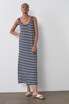 Navy/White Stripe Trapeze Maxi Dress