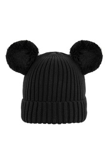 Girls Black Organic Cotton Ear Hat