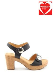 Heavenly Feet Sadie Ladies Black Heeled Sandals