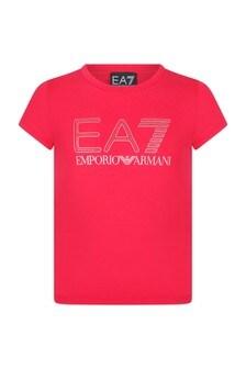 Girls Red Cotton Logo T-Shirt
