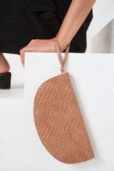 Nude Half Moon Clutch Bag