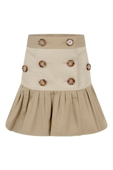 Beige Girls Beige Cotton Skirt