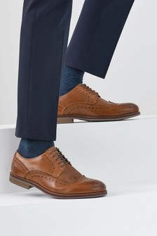 Tan Leather Contrast Brogues