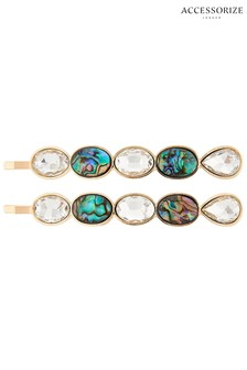 Accessorize Cream Abalone Shell And Crystal Hair Slides