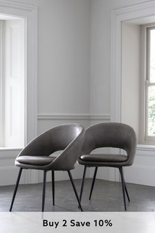Monza Faux Leather Grey Set of 2 Hewitt Dining Chairs With Black Legs