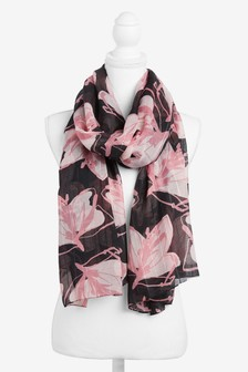 Pink Floral Sparkle Check Scarf