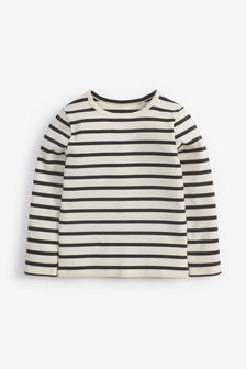 Black/White Stripe Long Sleeve Rib T-Shirt (3mths-8yrs)
