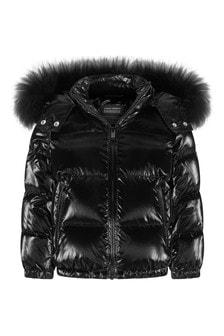 Girls Black Down Padded Jacket
