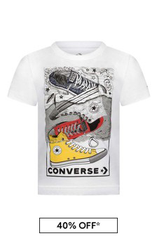Boys White Cotton Trainer Stack T-Shirt