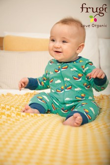 Frugi GOTS Organic Zipped Babygrow With Mitts In Duck Print
