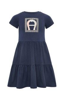 فستان قطن أزرق داكنبناتي منAigner