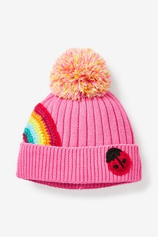 Pink Rainbow Pom Hat (0mths-2yrs)