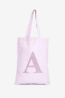 Lilac Organic Cotton Reusable Monogram Bag For Life