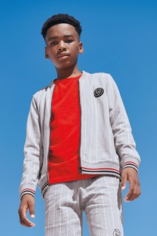 Grey Stripe Zip Through Jacket (3-16yrs)