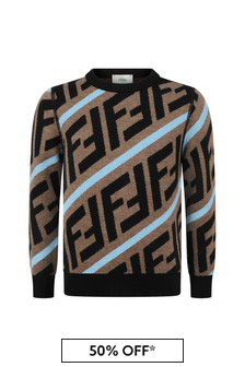 Boys Brown/Blue Wool Logo Jumper