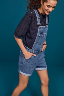 Mid Blue Dungaree Shorts