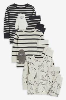 Monochrome 3 Pack Yeti Pyjamas (9mths-8yrs)