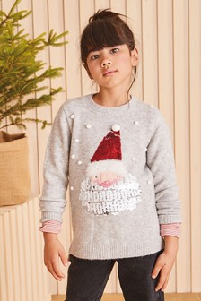 Grey Sequin Santa Sequin Santa Christmas Jumper (3-16yrs)