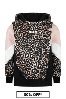 Girls Leopard Print Cotton Zip-Up Top