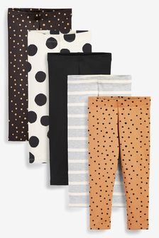 Monochrome Spots 5 Pack Leggings (3mths-7yrs)