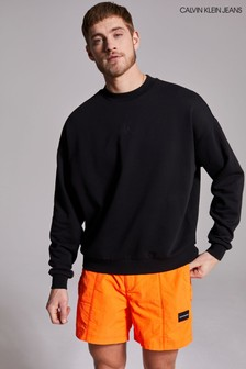 Calvin Klein Jeans Black CK Sliced Back Graphic Sweatshirt