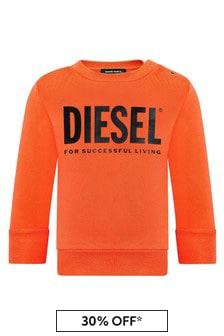 Diesel Baby Boys Orange Cotton Sweat Top