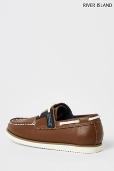 River Island Brown Rubber Patched Boat Shoes