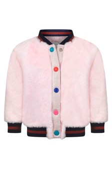 Baby Girls Pink Faux Fur Mascot Jacket
