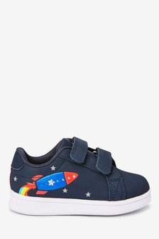 Navy Double Strap Rocket Lights Shoes (Younger)