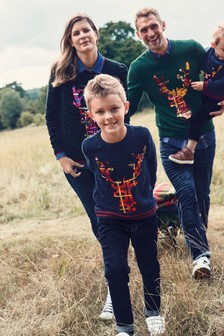 Navy Matching Family Kids Christmas Flippy Sequin Stag Jumper (9mths-16yrs)