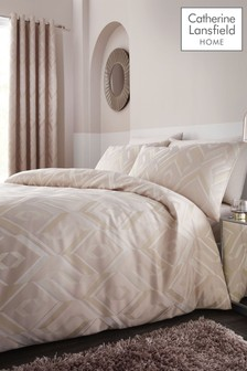 Catherine Lansfield Myles Jacquard Duvet Cover and Pillowcase Set
