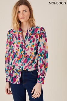 Monsoon Natural Ellie Blurred Floral Blouse In Sustainable Viscose