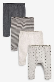 Monochrome 4 Pack Star Stretch Leggings (0mths-3yrs)