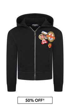 Kids Black Cotton Zip Up Top