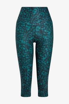 Teal Printed High Waist Sculpting Sports Capri Leggings
