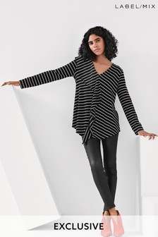 Next/Mix Stripe Frill Tunic