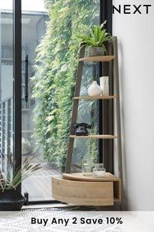 Light Oak Effect Bronx Compact Corner Ladder Shelf