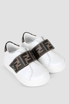 Kids White/Brown Leather FF Logo Trainers