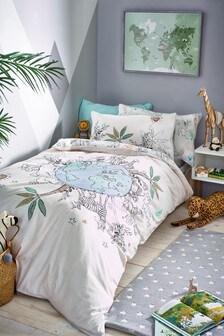 Little World Reversible Duvet Cover And Pillowcase Set